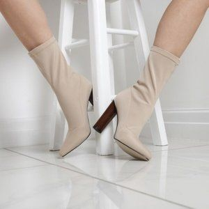 Zina Nude High Ankle Boot In Lycra